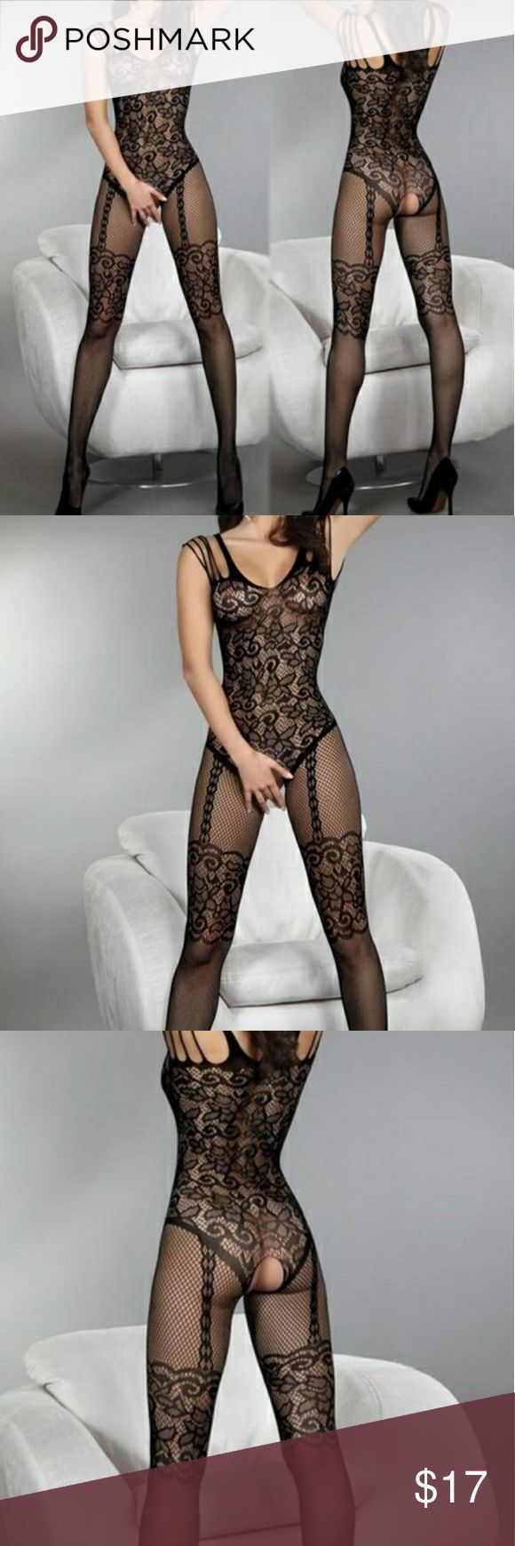 Lady Charming Fishnet Body Stocking Lingerie  Lady Charming Open Crotch Fishnet Body Stocking Lingerie - Color in Black - Material: Nylon - Good elasticity, fits most sizes - New - Thank you  Intimates & Sleepwear