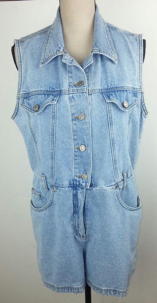 NY Line Women's Medium Jean Romper Shorts Vintage Sleeveless Blue Denim Belted  #NYLine #Romper #Casual