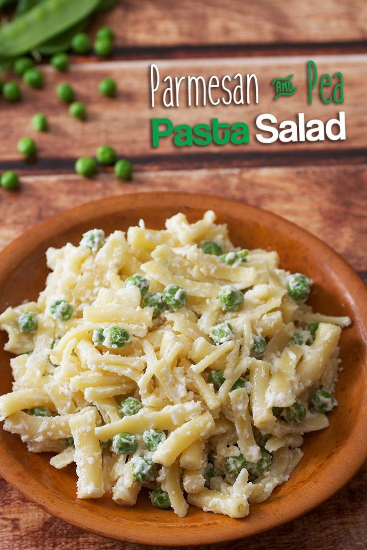 """Parmesan Pea Pasta Salad - the WORLD""""S EASIEST PASTA SALAD RECIPE.  Takes just 15 minutes to make and contains only 4 ingredients!  Easy, fast, simple, and perfect for your Fourth of July cookout party."""