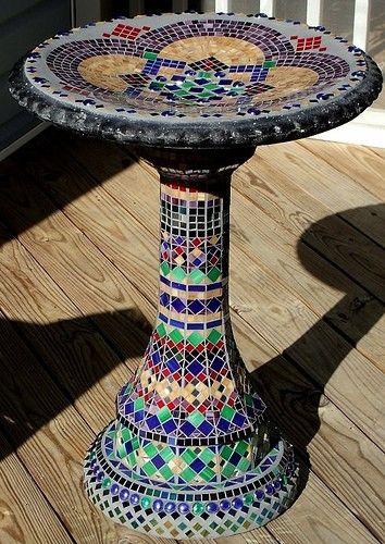 Mosaic bird bath, so pretty ~ For the flower bed