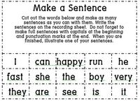 Make a sentence game - center. I could make some of these during the third or fourth nine weeks for them to practice building sentences using words provided.