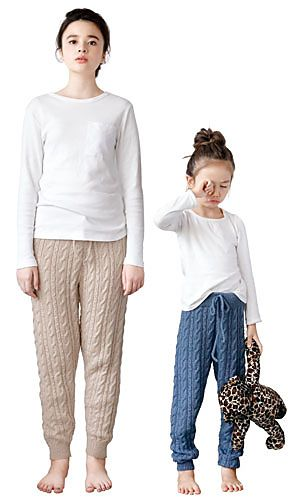 Surprisingly slim-looking cabled pants. In a smooth and drapey yarn, could maybe be worn out of the house?