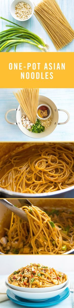 Avoid a long night of cleaning pots and pans with this recipe for one-pot asian noodles. All you'll need are 5 ingredients: spaghetti noodles, peanut sauce, green onions, chicken breasts, and peanuts. If you'd prefer the gluten-free recipe, swap out the spaghetti for brown rice noodles. Enjoy!