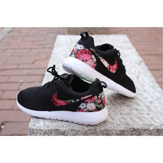 low priced 96603 475e9 Floral Nike Roshe Run Custom Black White Roses Vintage Rose   style.   Nike  shoes, Nike shoes cheap und Floral nikes