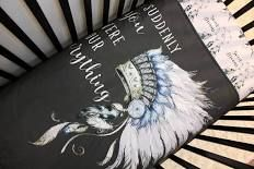 Indian Baby Boy Quilt Set, Boy Crib Bedding, Feather Indian Boy Bedding, Blue Grey Crib Quilt, Southwestern Feather Indian Theme Nursery
