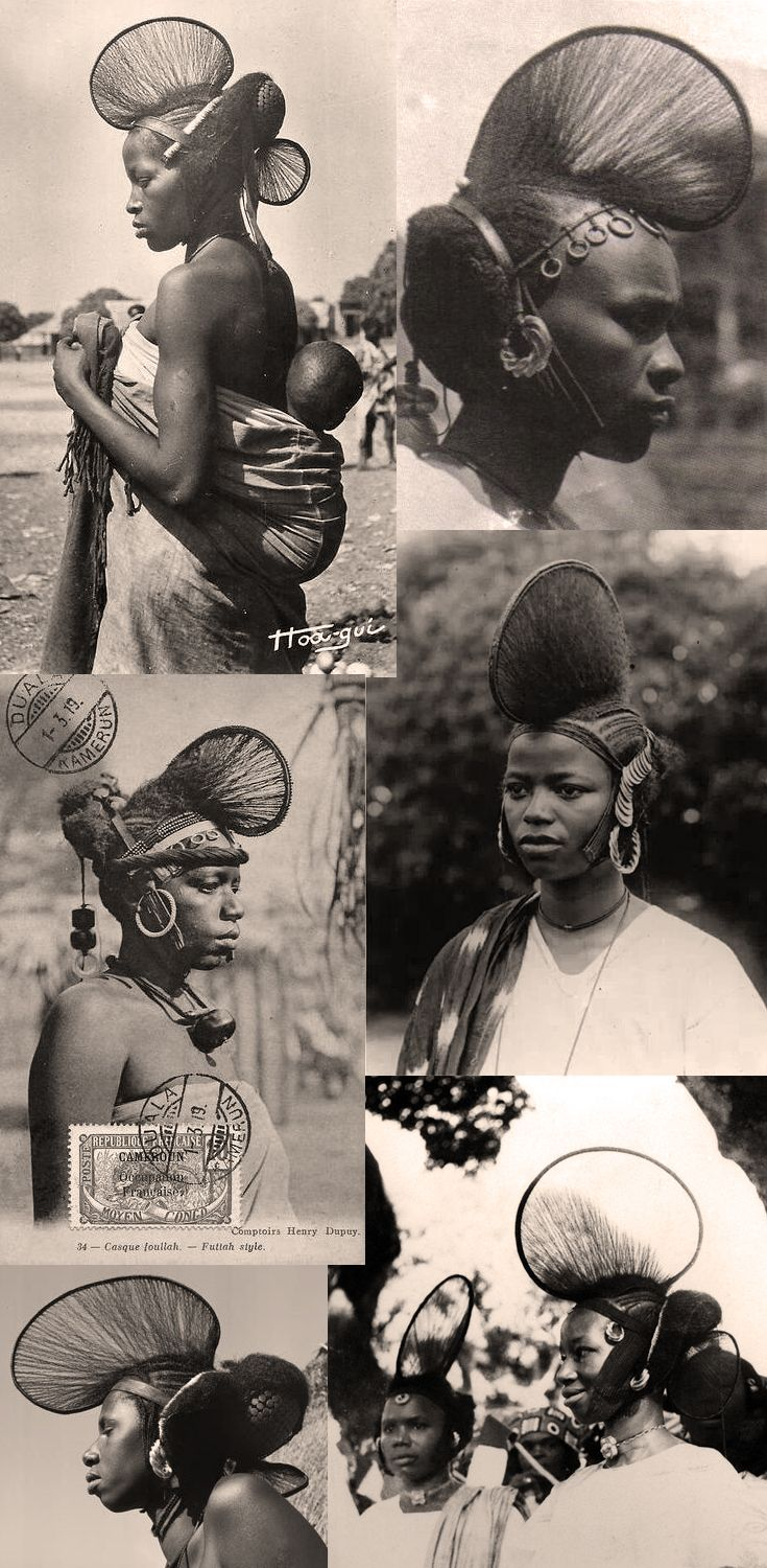 West Africa   Collection of vintage postcards and photographic prints of the lovely hairstyles worn by the Fula (Fulani/Fulbe) women of Guinea