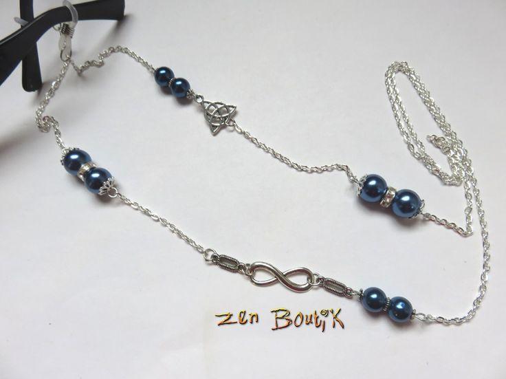 Cordon Lunettes chaîne Infini Triquetra et Perles Nacrées : Lunettes, lunettes de soleil, cordons par zenboutik