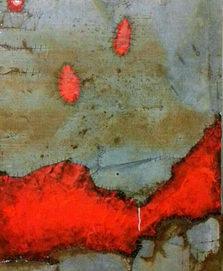 Iron IV, lamiera cucita, cemento colorato e acrilico su tela cm 80×100, 2016 www.giuseppecastelliartista.com