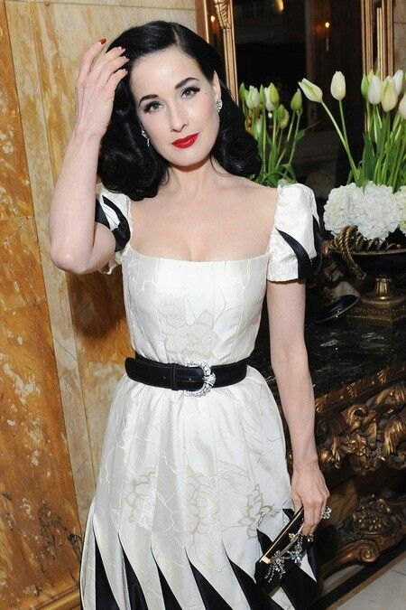 dita dita von teese white dress black and white forward dita von teese