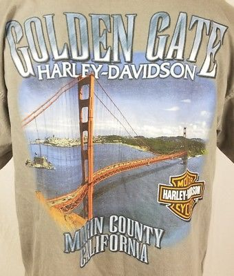 Harley Davidson T Shirt Mens Size Large Golden Gate Marin County, CA 1409