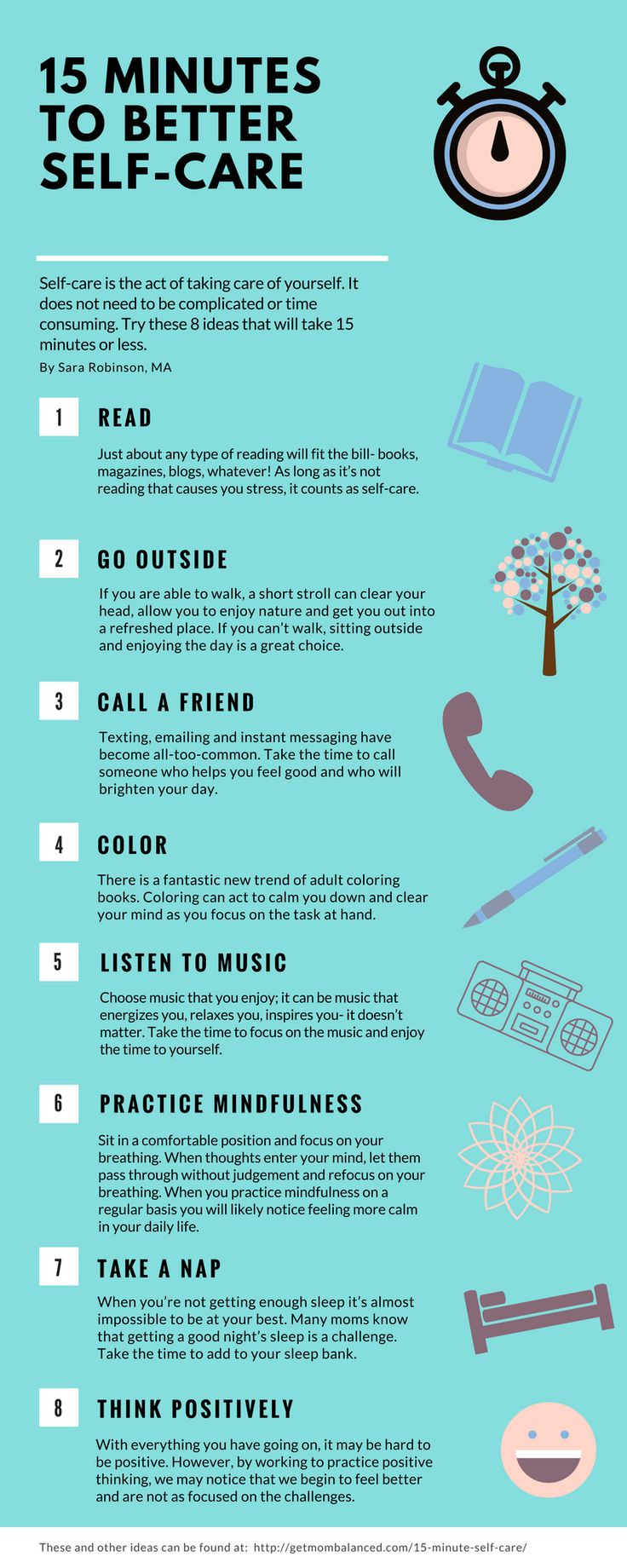Self-care for moms   Visit for free printable   Ideas for quick self-care   Activities to add to your self care routine   Use this list to plan for your day   Things to do for busy moms