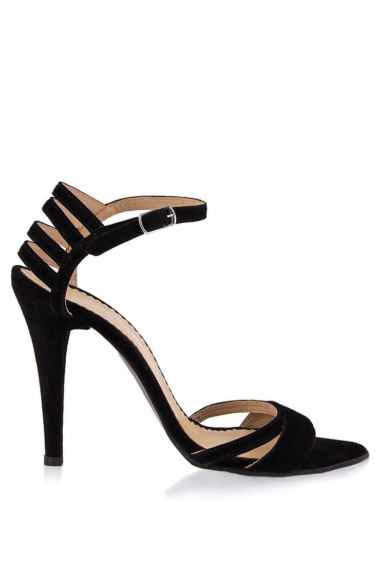 PassepartouS   Sandale negre din piele intoarsa cu toc   WE LOVE COUTURE