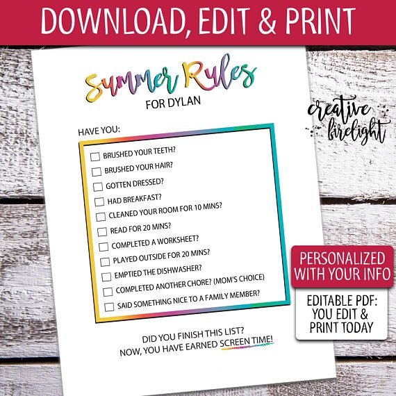 picture about Screen Time Rules Printable identify EDITABLE Summer season Regulations Editable On the net Printable Display screen