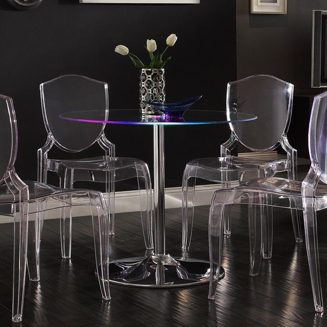 Caley Collection LED table, is a contemporary furniture pieces that features a tempered glass table top that transitions. Is a true innovative furniture that will sure impress your guest. Table is lif...