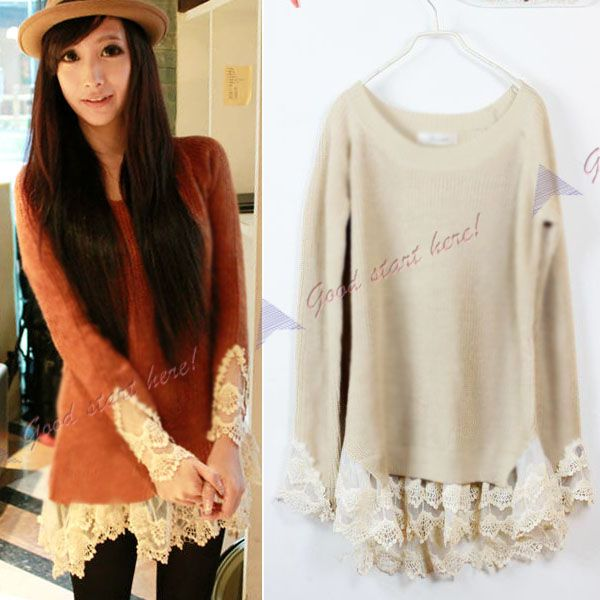 Girls Slim Vintage Lace Hem Sweater Stitching off Two Knitting Wool Clothes    also to do