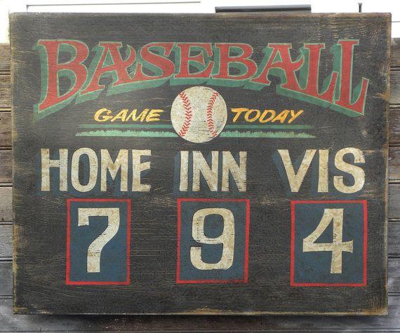 Baseball Scoreboard Print with MAT 11 by 14 by ZekesAntiqueSigns
