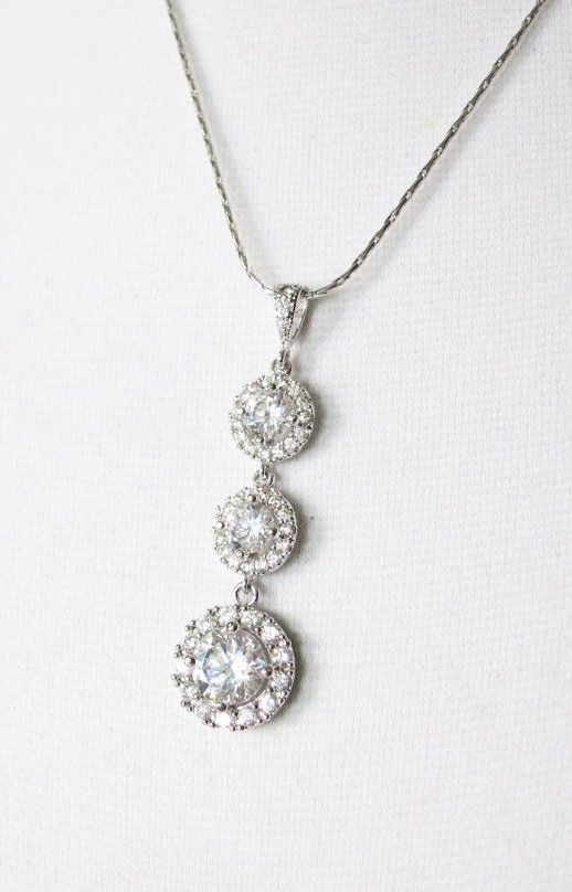 Heather Luxe Cubic Zirconia Round Drop necklace
