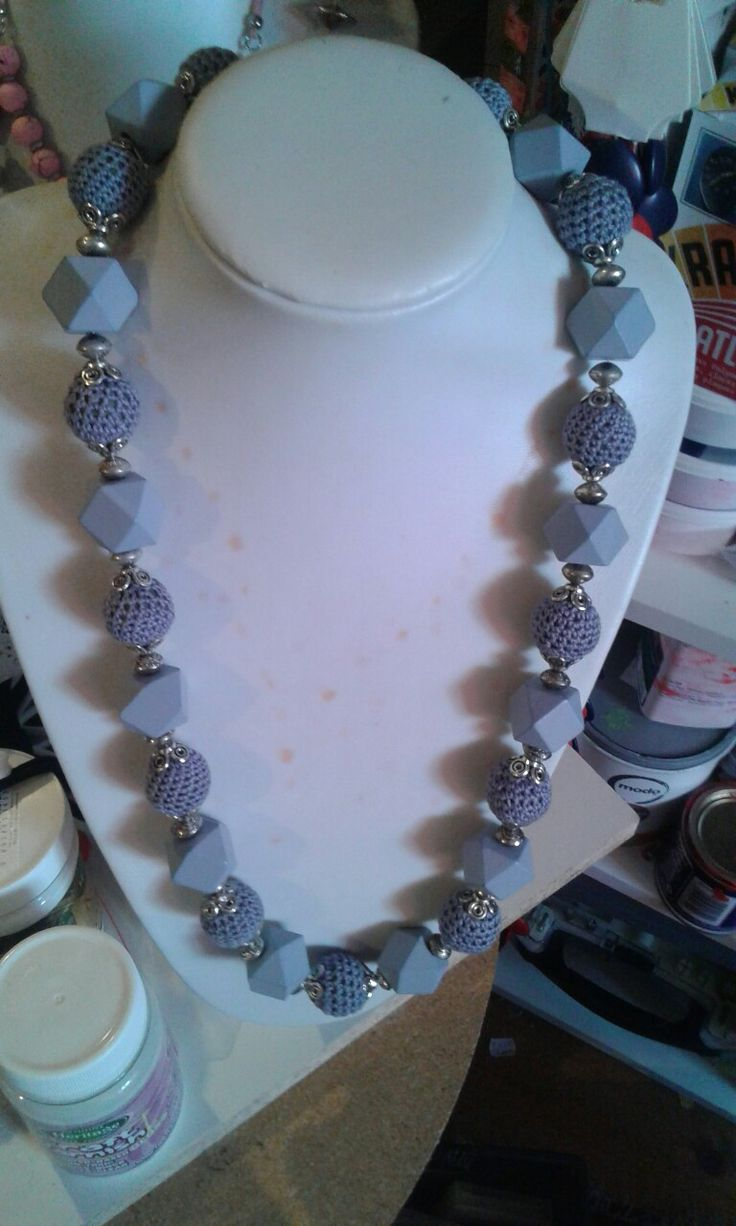 grey crochet beads with wooden beads and silver spacers