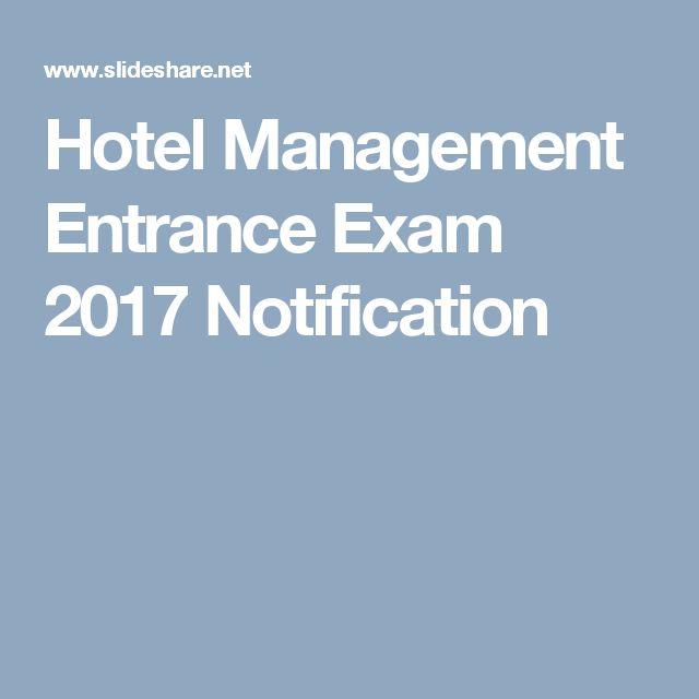 Hotel Management Entrance Exam 2017 Notification