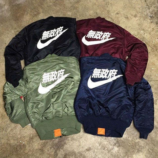 Mens Bomber Jackets Winter Fashion Khaki Army Green Navy Blue Red Black Nike Chinese Symbol Superdry