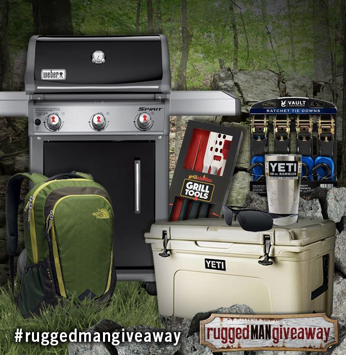 Enter for a chance to win the Ultimate Rugged Man Giveaway! Over $1,100 in prizes including Weber, Grillaholics, YETI, Vault Cargo, Eye Love, and The North Face.