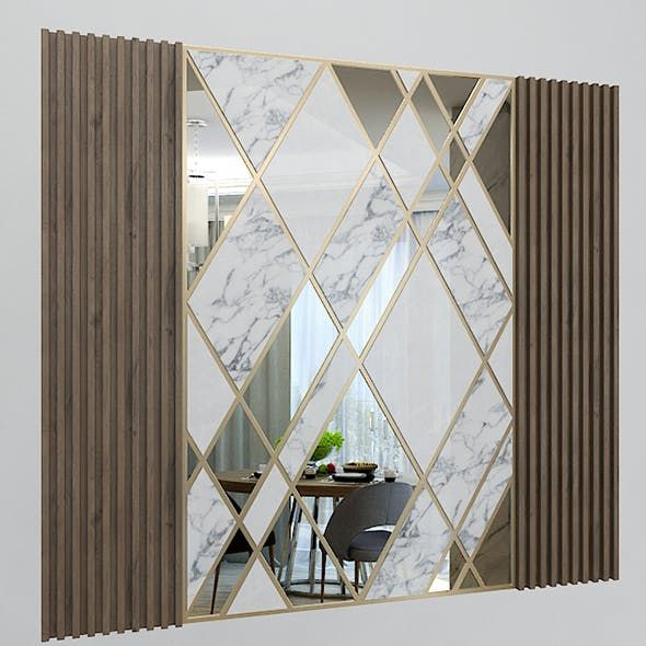 Wall Decorate Panel With Mirrors Marble And Wood Mirror Design