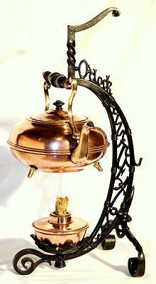 "c1890 Bradley & Hubbard teapot on stand, ""5 o'clock tea"", ""B, 1269"", 19"" t. Circa 19th Century antiques ebay store. ""Bright copper kettles and warm woolen mittens..."