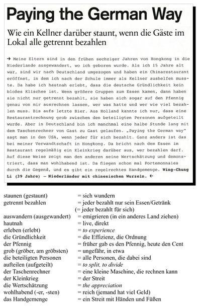 Paying the German Way - Deutscher Lesetext mit Worterklärungen, German article with annotations