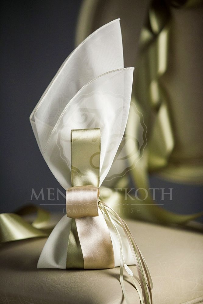 Classic wedding bomboniere favor with wide satin ribbon