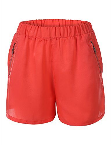 7Encounter Women's Soft Shorts With Accent Zipper Coral Size XS