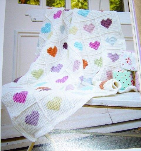 Granny Square Crochet Heart Blanket Free Pattern - Lap Blanket, Wood Chair, Crochet Blanket
