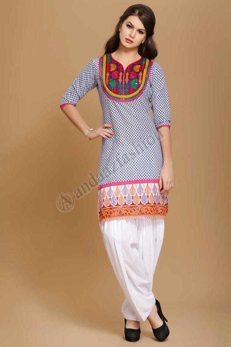 Coton doux imprime Kurtis indien Design No. 4014 Prix- 17,60  Coton doux imprime kurti avec Resham embroiderey @http://www.andaazfashion.fr/womens/kurti-tunic/soft-cotton-printed-indian-kurtis.html