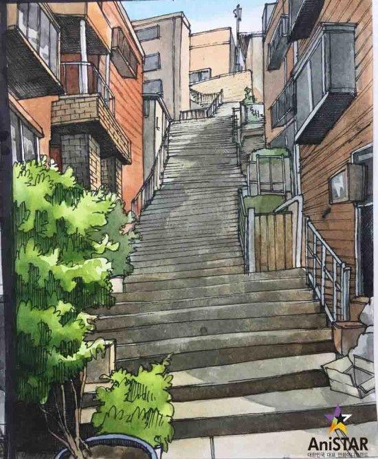 골목길 배경 그리기 과정!![강사 연구작][인천구월애니스타미술학원] : 네이버 블로그