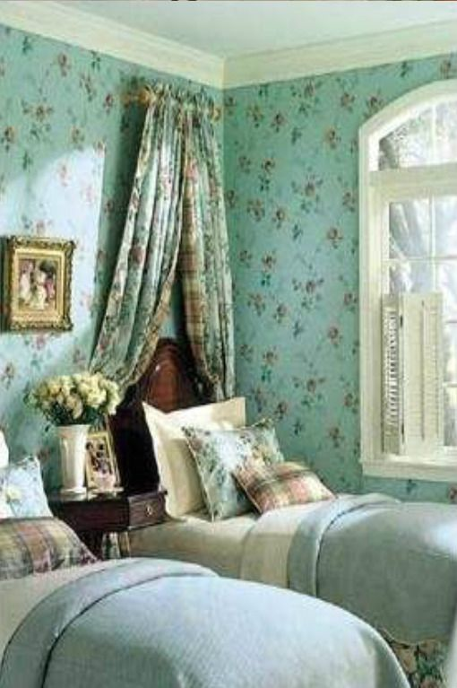 English Cottage bedroom ---- wallpaper is beautiful, but a little much for my taste ---  but I really like everything else including the colors