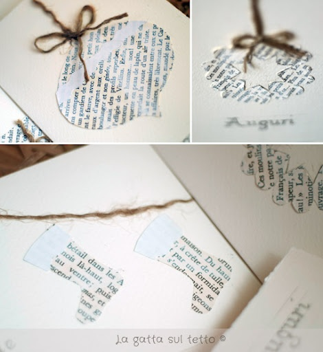 Christmas cards out of printed songs/bible verses. Made my own rendition of these this year, turned out pretty well.