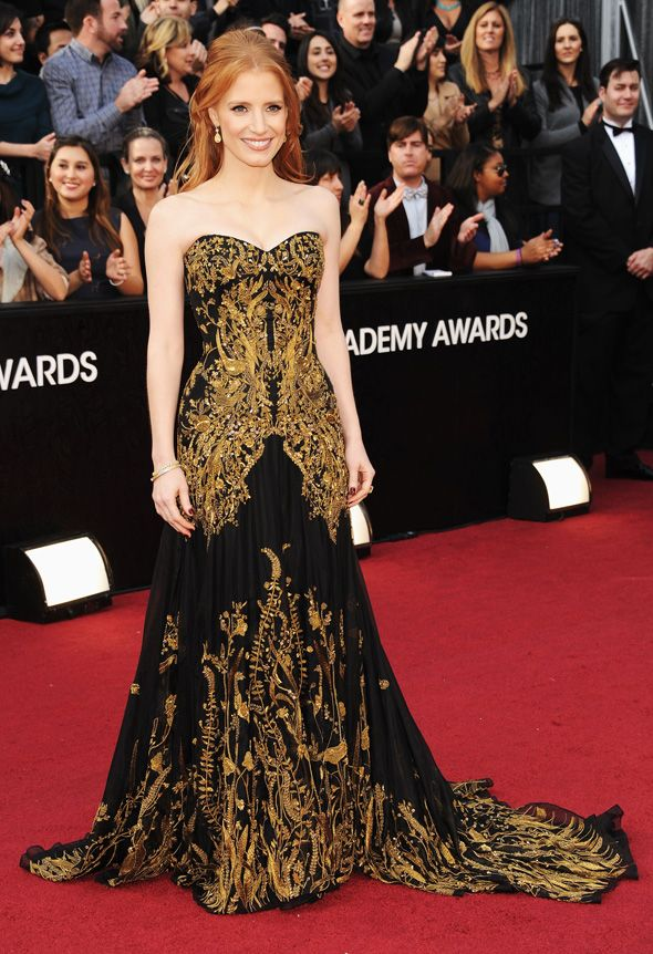 embroidery - Jessica Chastain's Oscar gown shows the amazing use of metallic thread! House of McQueen continuing his love of embroidery.