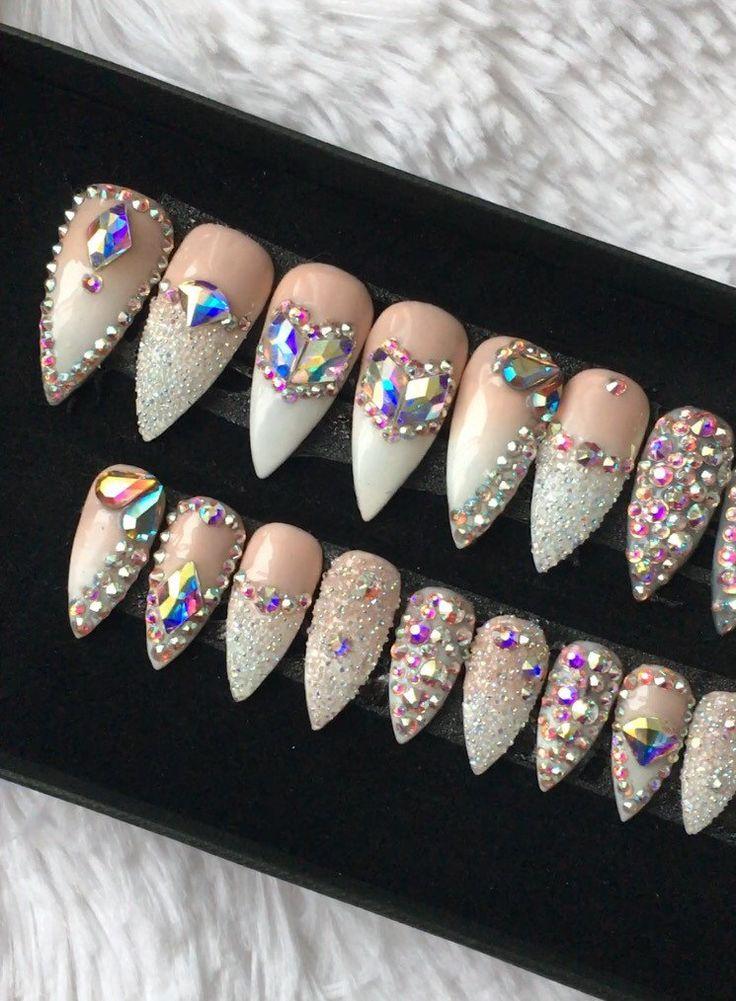 Swarovski Ombre Press on Nails | Genuine Swarovski | Swarovski Pixie | French Tip |AB Crystals | False Nails | Custom Shapes and Sizes by DippyCowNails on Etsy