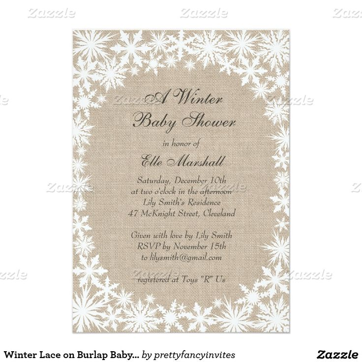 winter lace snowflakes on burlap baby shower invitation