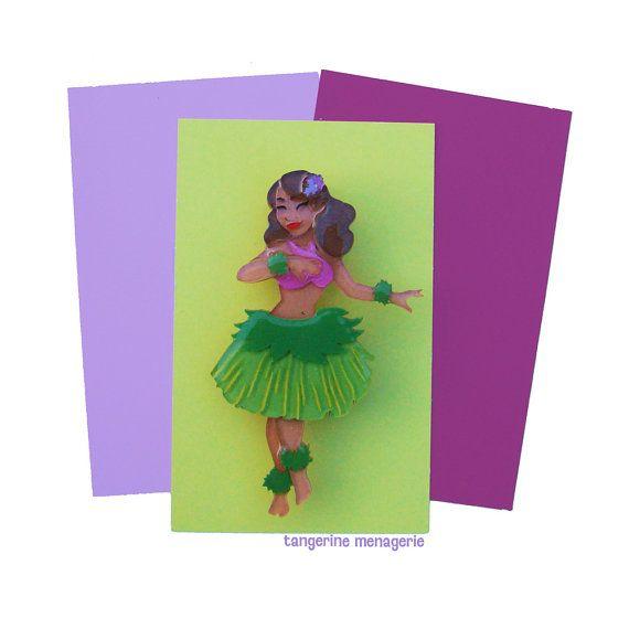 Hula Dancer Vintage Inspired Novelty Brooch  by TangerineMenagerie