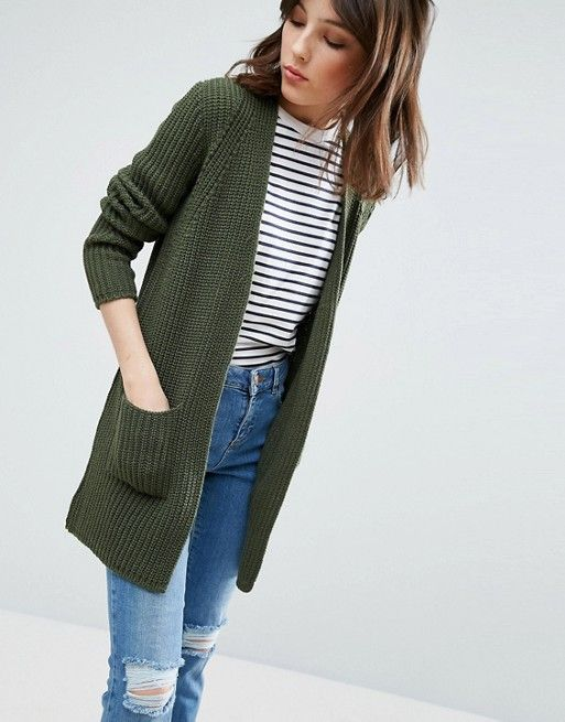 ASOS Olive Green Ultimate Chunky Cardigan