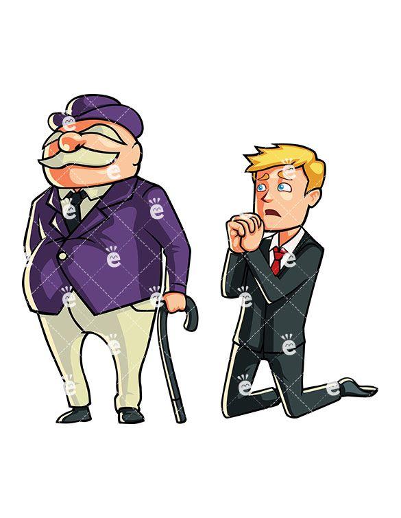 A Businessman Kneeling With Hands In Prayer Pose Beside A Banker:  #allowance #applyforloan #arrogance #arrogant #ask #askforhelp #askforloan #asking #bank #banker #banking #beg #begging #bigbanks #big-headedness #blond #bluster #boasting #boss #bucks #bumptiousness #business #businessowner #businessman #capital #capitalist #career #cartoon #caucasian #CEO #character #clipart #company #conceit...