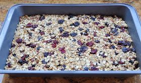 (KEEPER!) Clean Granola Bars - just popped this baby in the oven.  I substituted the wheat germ with a combination of chia seeds and milled flax seed simply because I don't have any wheat germ.  I used half cup of dried cherries, blueberries and pomegranate because it is what I had - oh and I didn't add the coconut - if there is ANY chance of my guy trying this than I certainly couldn't add coconut!  OH and I only had 1/2 cup of sliced almonds, so I added some chopped walnuts to it as well.