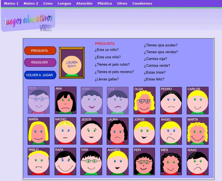 Quién es quién emociones. Los niños deben intentar adivinar qué personaje es el otro jugador a través de preguntas, tales como el color de pelo, ojos, así como la emoción que expresa.
