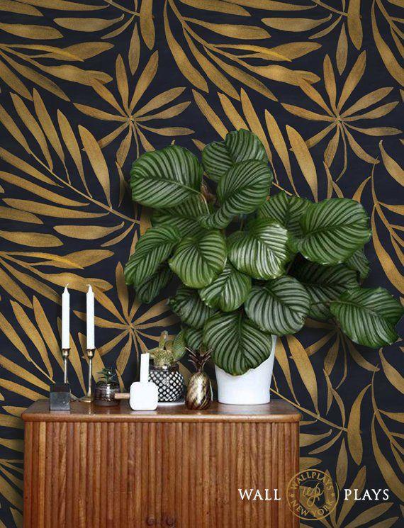 Bronze Leaves Removable Wallpaper Peel Stick Etsy In 2020 Removable Wallpaper Peel And Stick Wallpaper Wallpaper