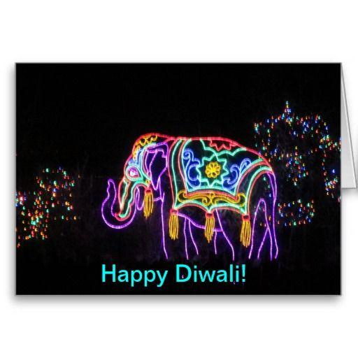Happy Diwali Elephant Card #Diwali #greetings #cards #wishes #zazzle