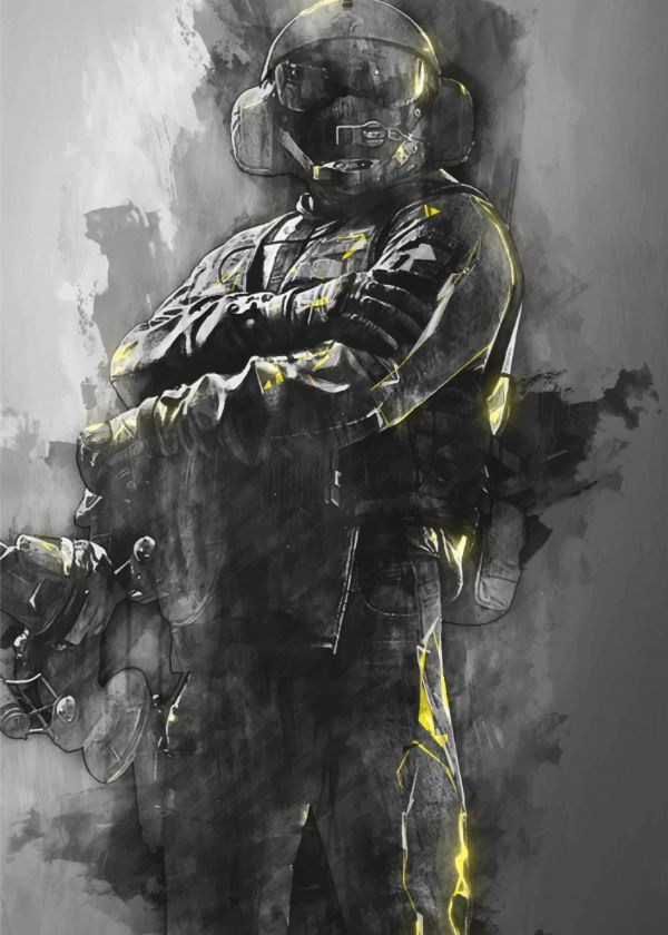 Rainbow Six Siege Charcoal Operators Jager Displate Artwork By