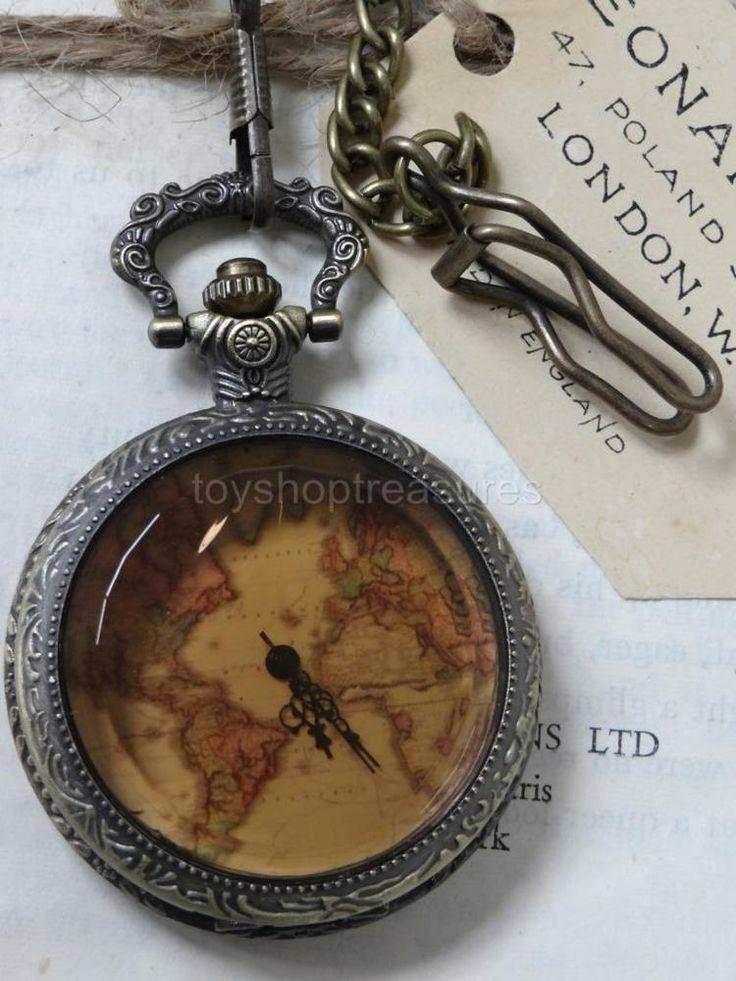Vintage Bronze Fob Pocket WATCH - Vintage map - Bevelled Amber glass front STEAM