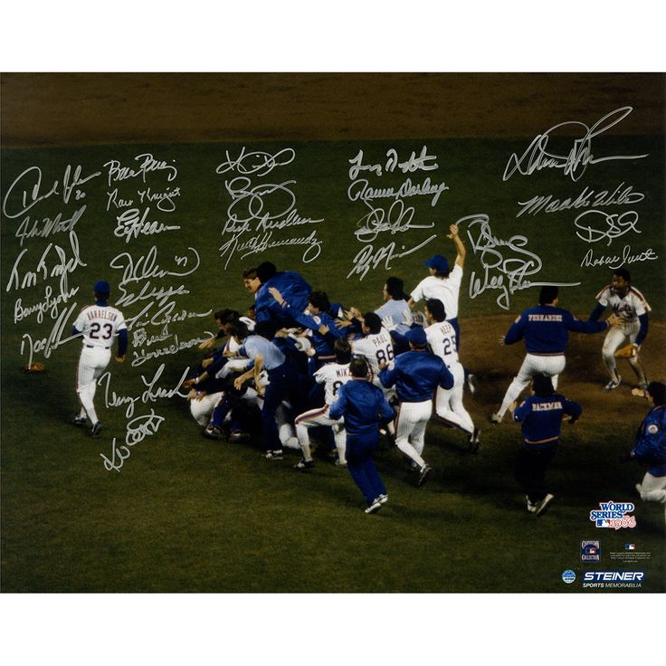 1986 New York Mets Team Signed World Series Winning On Field Celebration 16x20 Photo (28 Signatures)