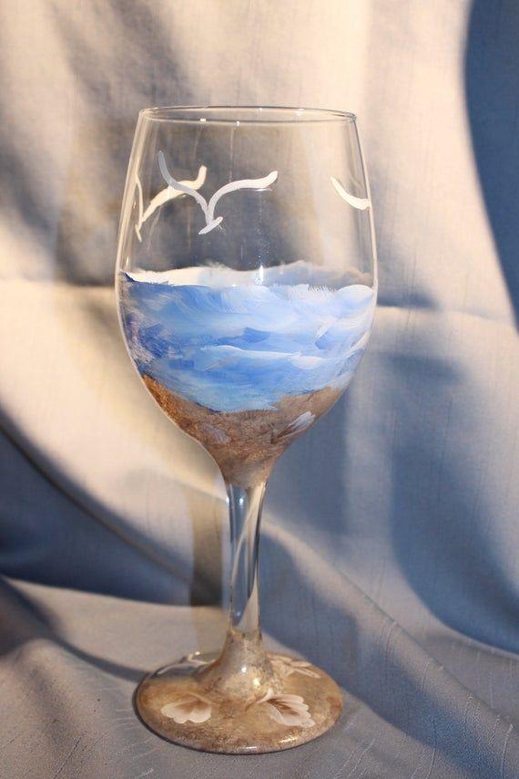 Hand Painted Wine Glasses Beach And Sand Set Of 2 Hand Painted Wine Glasses Painted Wine Glass Painted Wine Glasses
