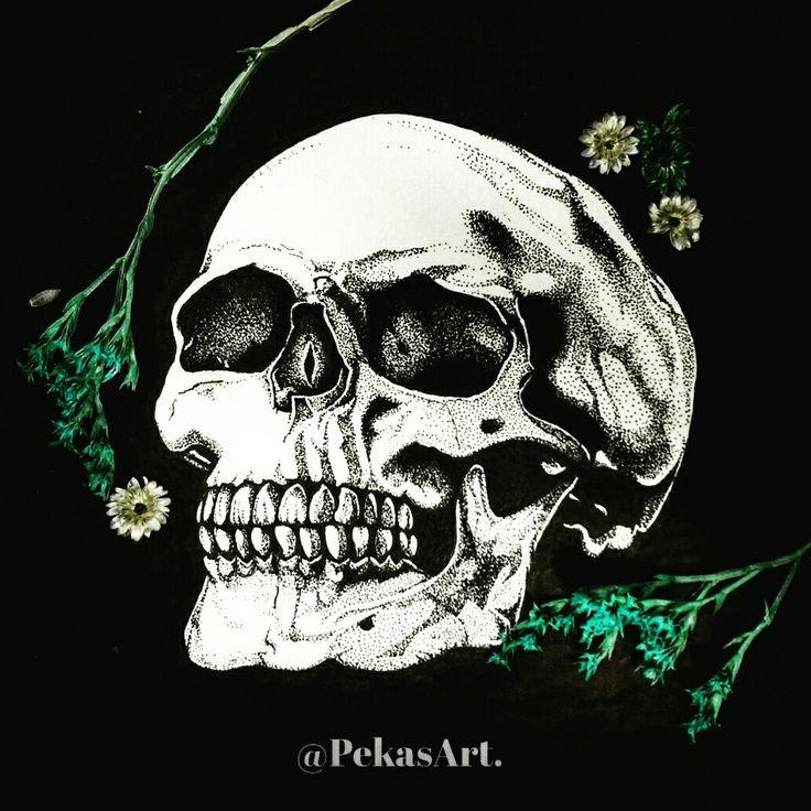 Skulls & Pointillism! @PekasArt. https://www.instagram.com/pekasart/